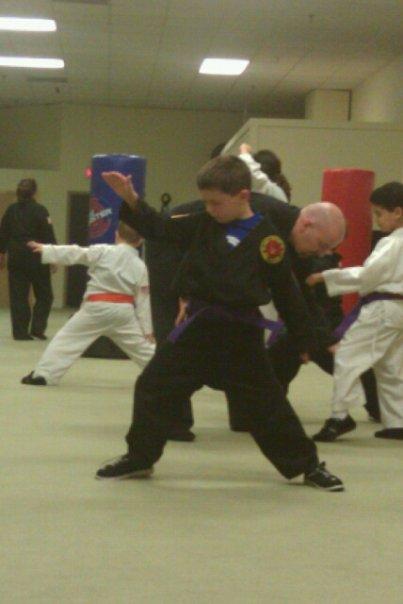 Ean at blue belt testing